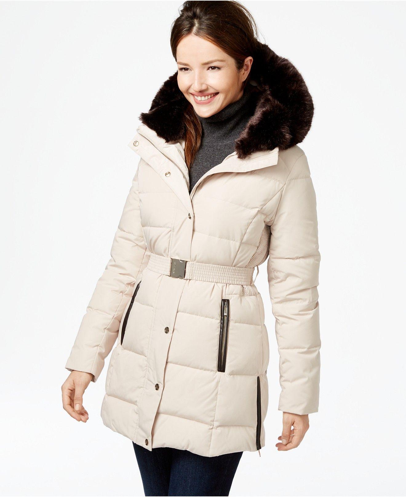 Ivanka Trump Faux Fur Trim Belted Down Puffer Coat Coats Women Macy S Puffer Coat Down Puffer Coat Pink Puffer Coat [ 1616 x 1320 Pixel ]