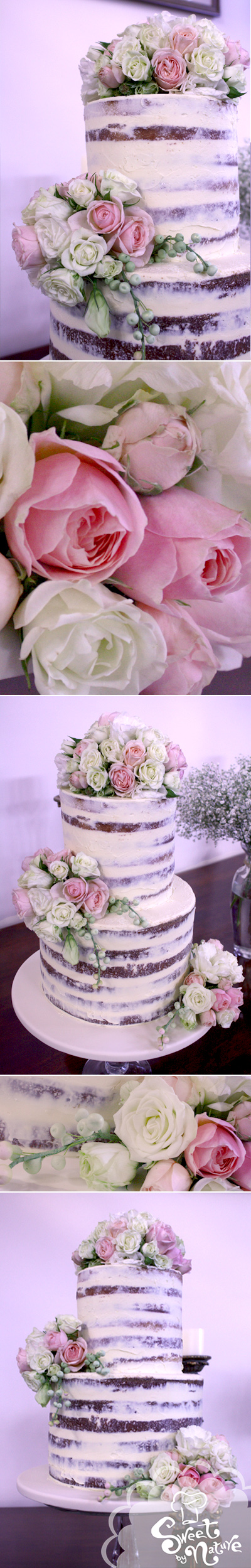 Naked Wedding Cake Fresh Flowers The Perfect Rustic Look