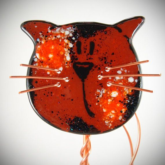 Archie ~ Fused Glass Cat Garden Stake Copper Outdoor By CoalescentAlchemy,  $60.00