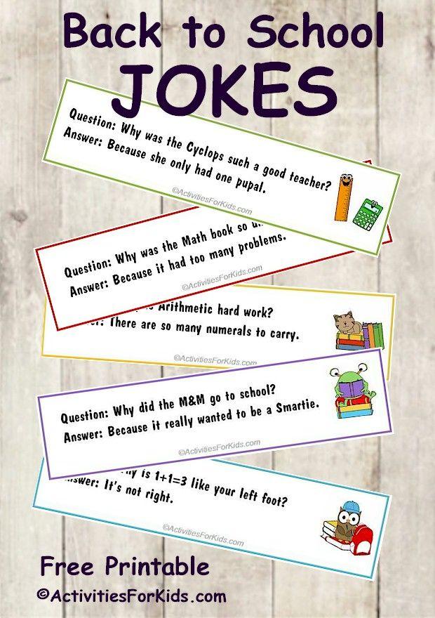Printable Back to School Jokes for Kids, bookmark format