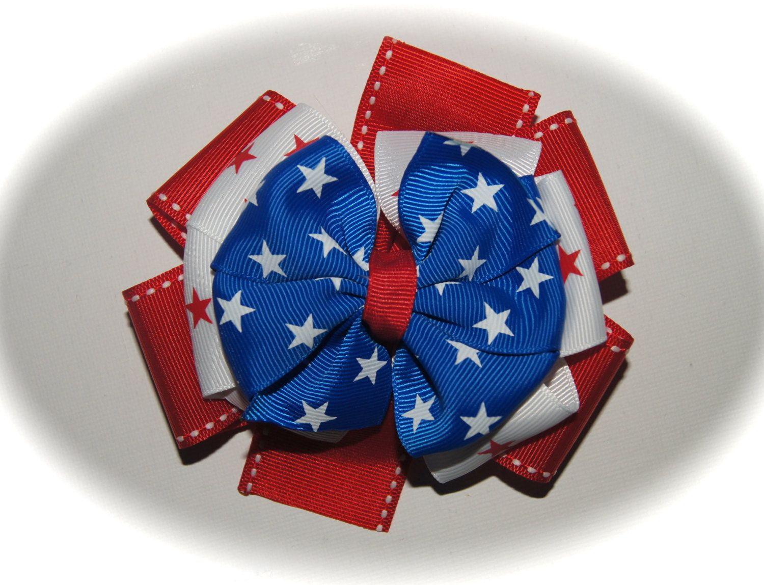 Small patriotic stacked hair bow hair bows on etsy pinterest