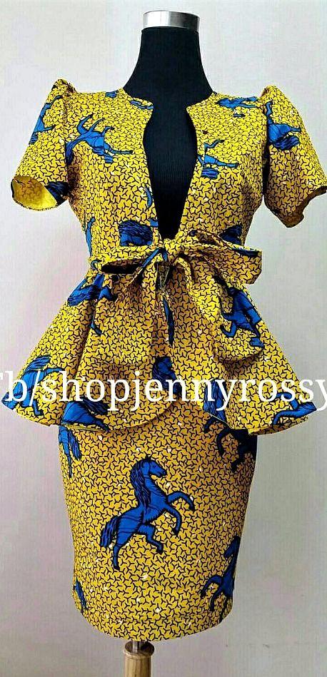3297b7ef11dfbd African print Skirt and Top Ankara pencil skirt and peplum jacket top.  Ankara