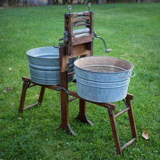 Brighton Wood Wash Stand With Round Galvanized Tubs Wash Stand