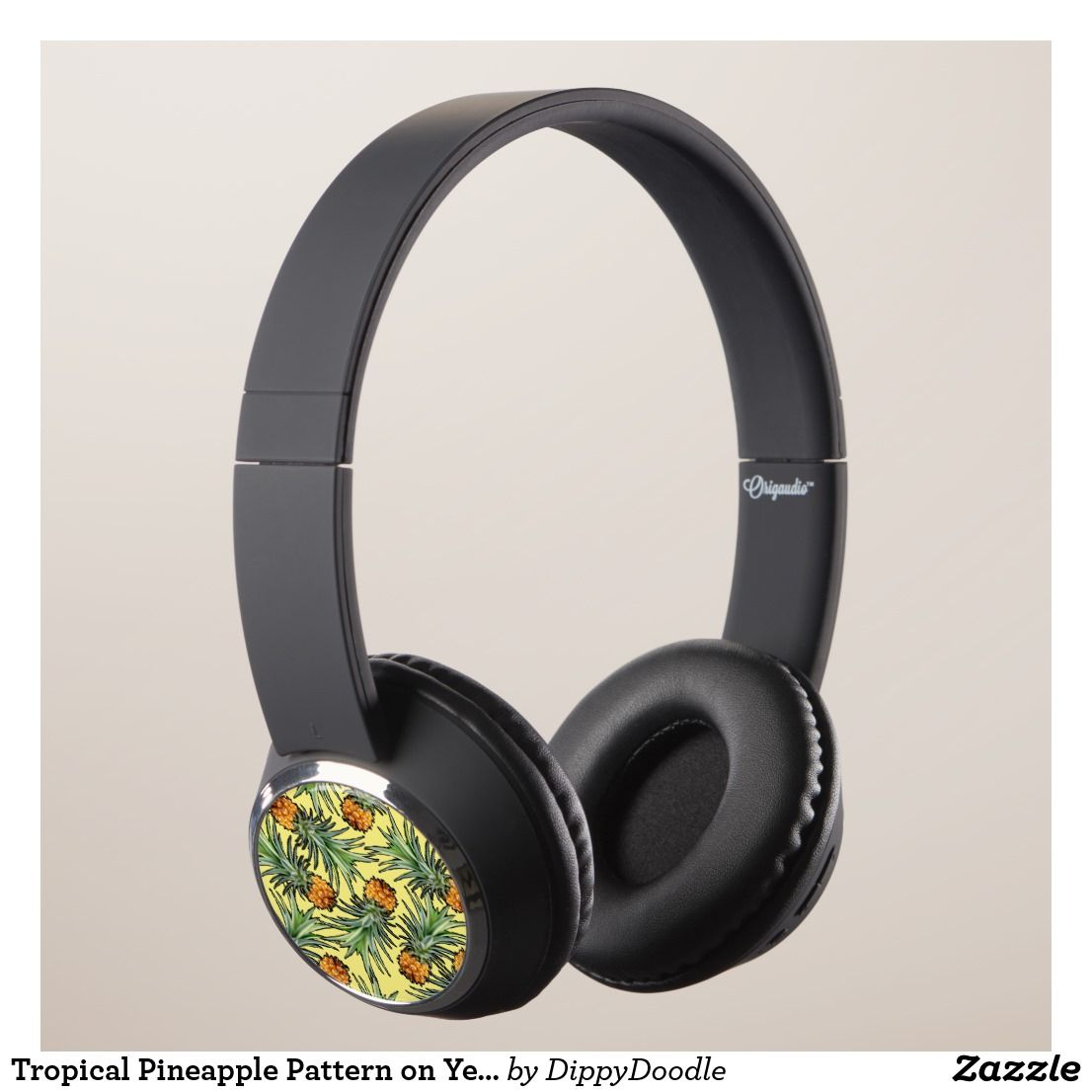 c096f43835a Tropical Pineapple Pattern on Yellow Headphones | Zazzle.com ...