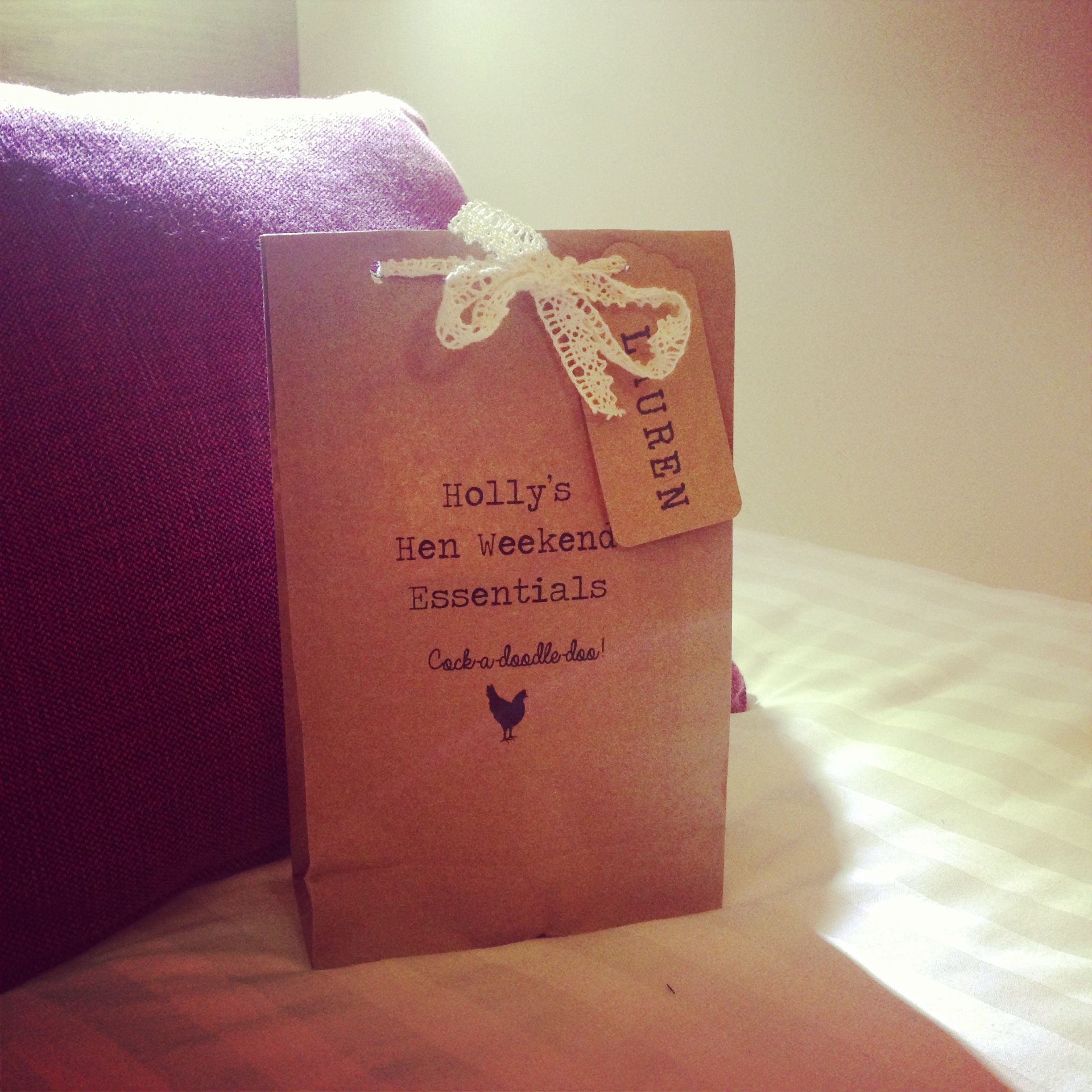 Pre Wedding Gift Ideas: Hen Batchelorette Goody Bag Brown Kraft Lace. Rustic Chic