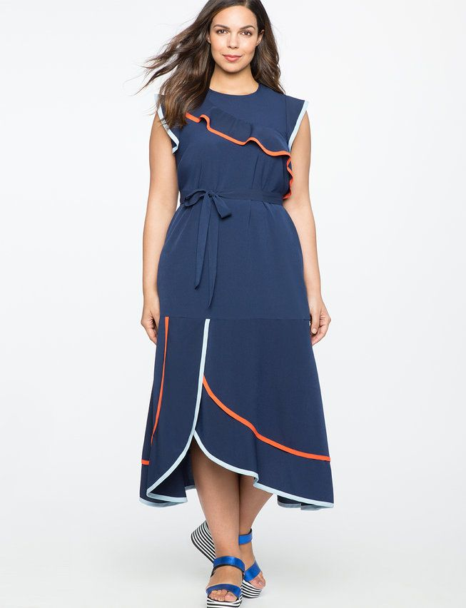 4b93a590d6a Navy Ruffle Dress with Contrast Trim