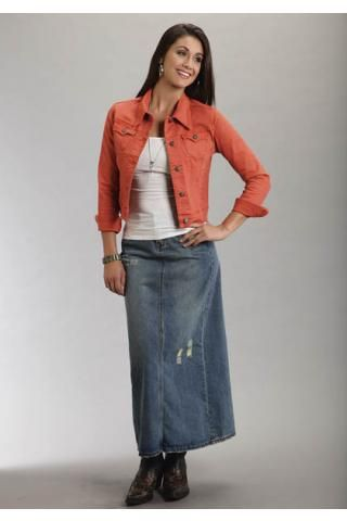 LONG DENIM SKIRT - WOMEN'S DENIM SKIRTS - MODEST JEANS ... |Western Long Denim Skirts Modest
