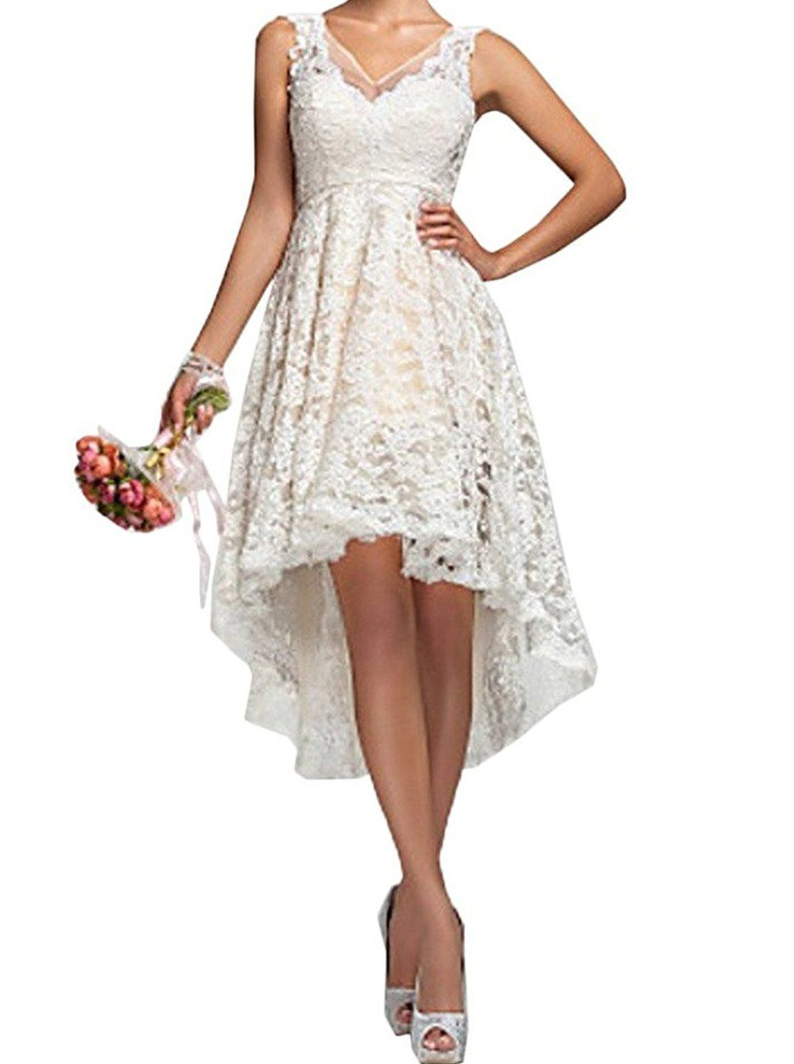 Prom queen womenus hilow vneck lace prom gown short bridal gownes