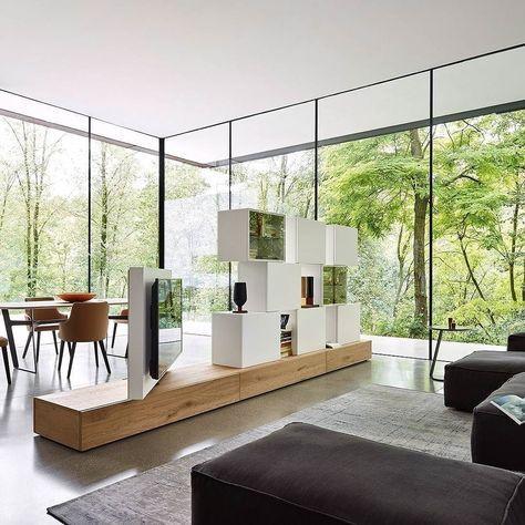 Diese moderne Wohnwand von Livitalia aus ist ein optimaler - wohnzimmer ideen fernseher
