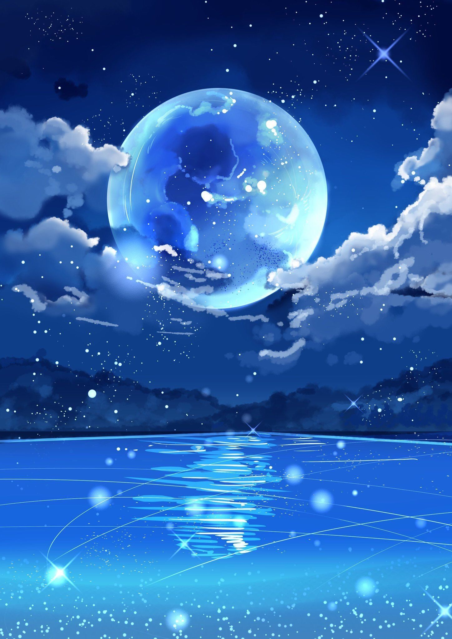Pin By Jules On Painting Fantasy Art Landscapes Anime Scenery Beautiful Nature Wallpaper Fantasy anime moon wallpaper
