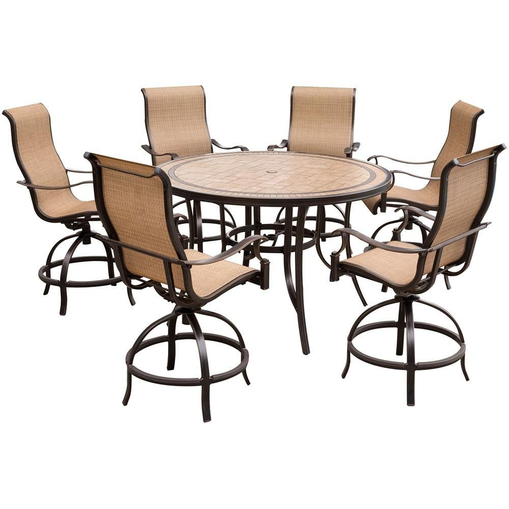 Hanover Monaco 7 Piece Aluminum Outdoor High Dining Set With Round Tile Top Table And Contoured Sling Swivel Chairs Mondn7pcbr The Home Depot Outdoor Dining Set Tile Top Tables Outdoor Lounge Chair Cushions
