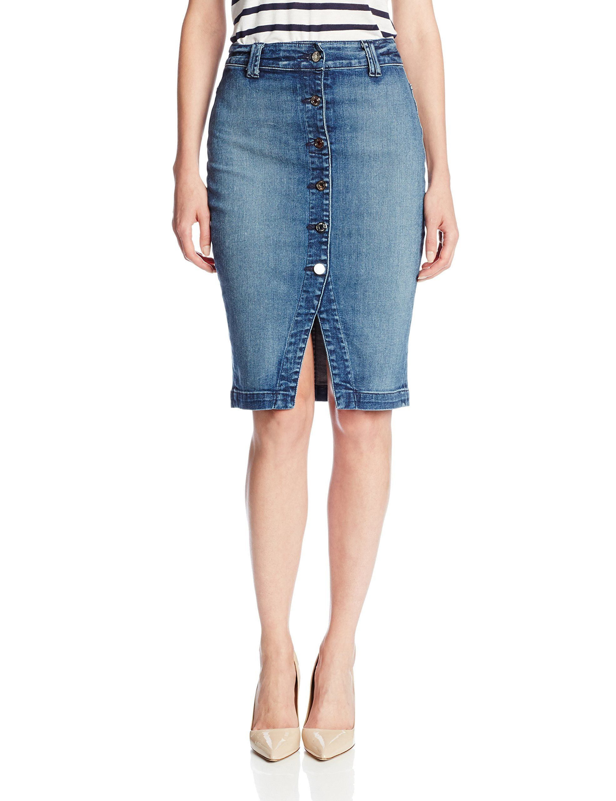 20d26c1c70 Try the front button skirt trend with 7 For All Mankind Women's denim  Pencil Skirt at Amazon Women's Clothing store: