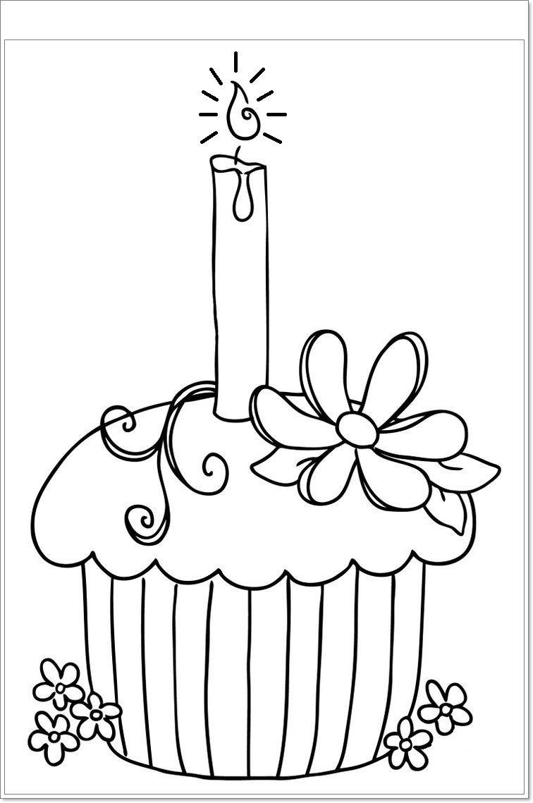kleurplaat: Cupcake! | idée | Pinterest | Cocinas negras, Dibujos ...