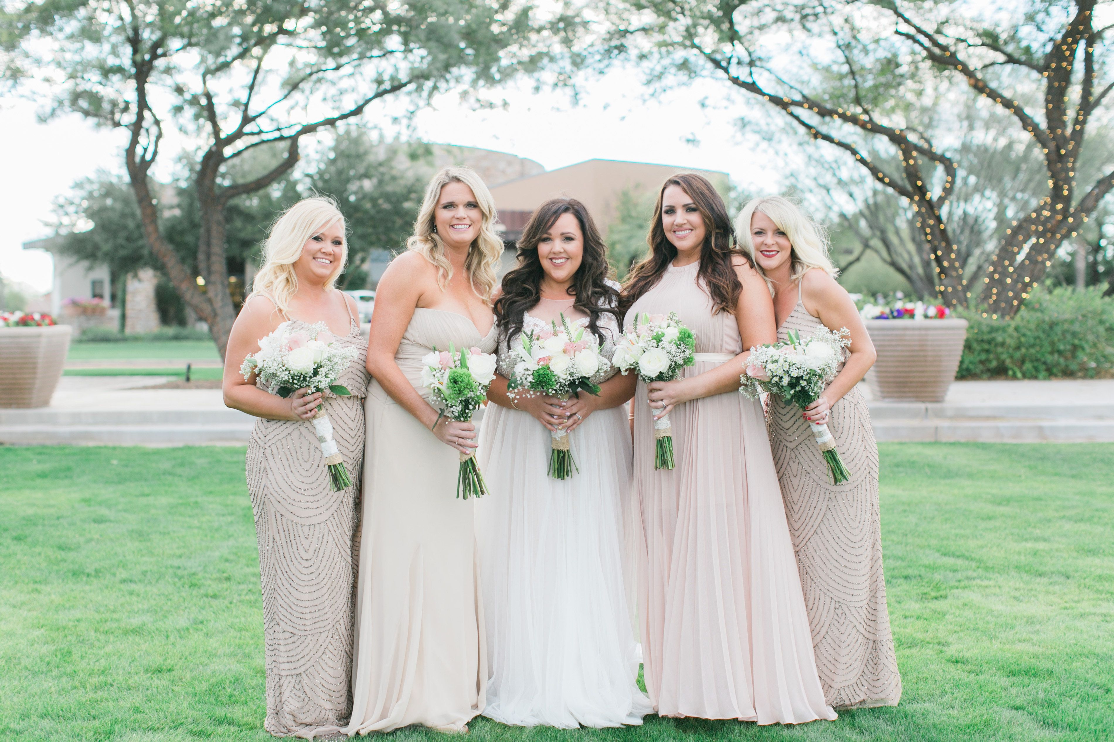 Floor length bridesmaids dresses with different shades of one bridesmaid floor length bridesmaids dresses with different ombrellifo Choice Image