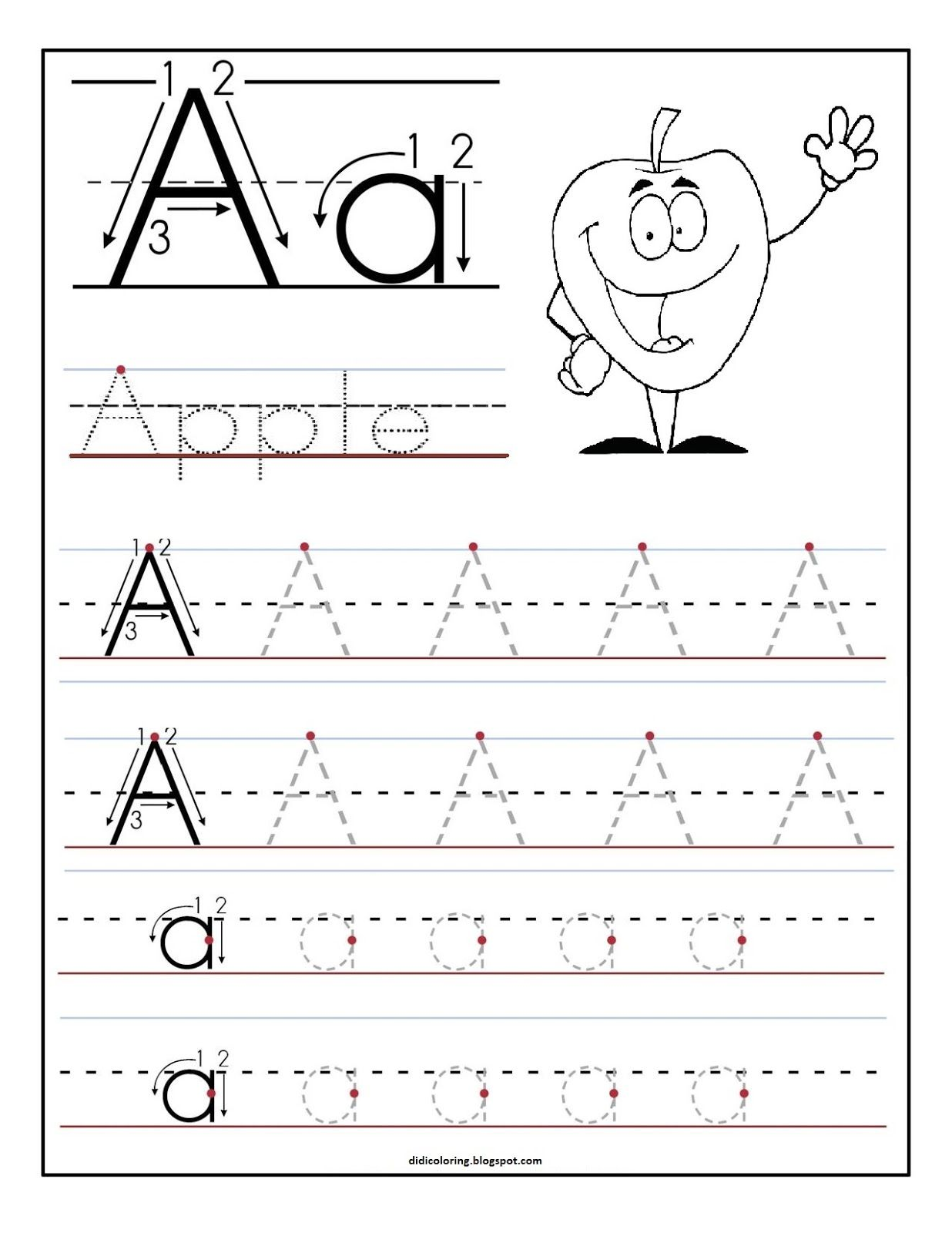 Free printable worksheet letter A for your child to learn and write ...