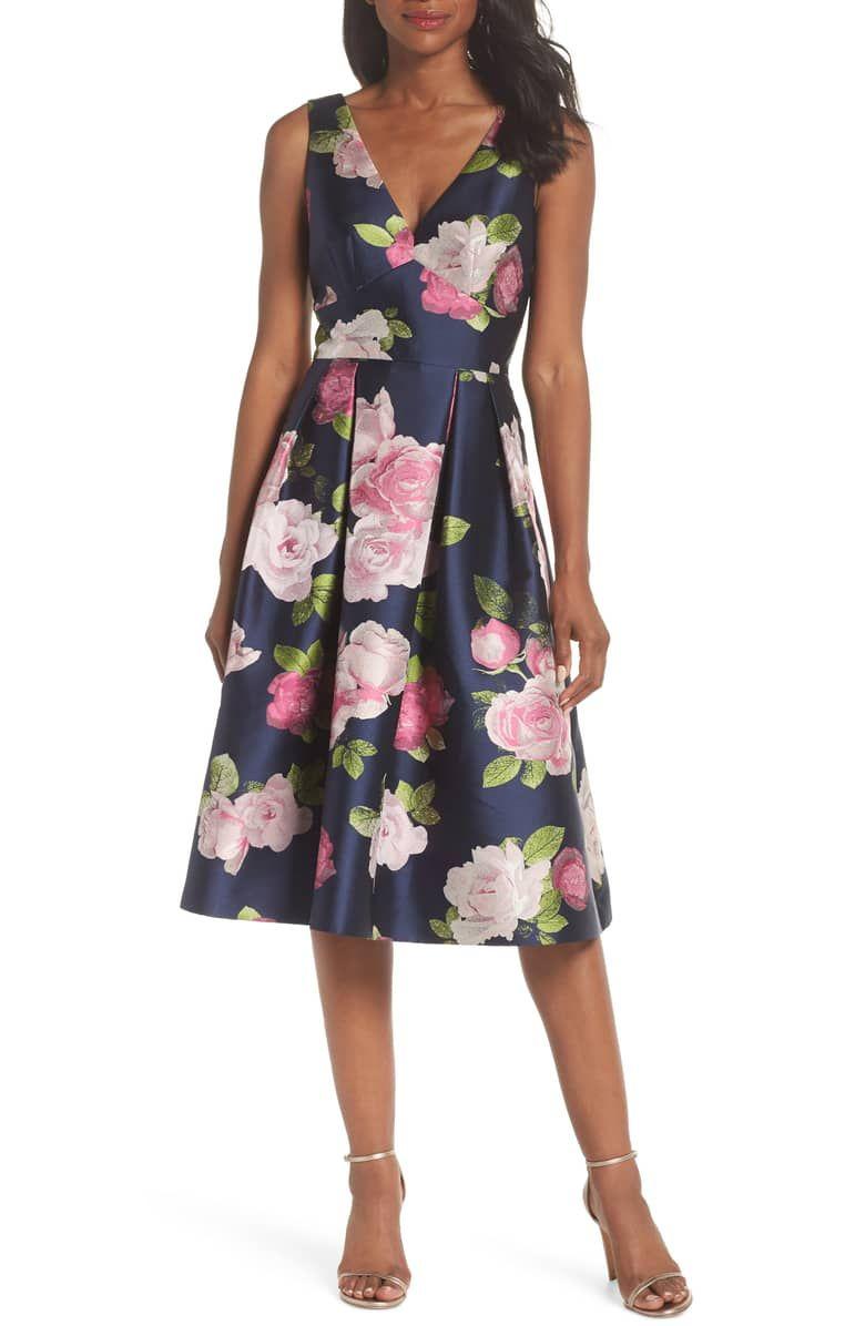 Eliza J Sleeveless Floral Print Fit Flare Dress Nordstrom Dresses Fit Flare Dress Fall Wedding Guest Dress [ 1196 x 780 Pixel ]