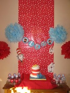 Cake Display For Cat In The Hat I Like Wrapping Paper Backdrop