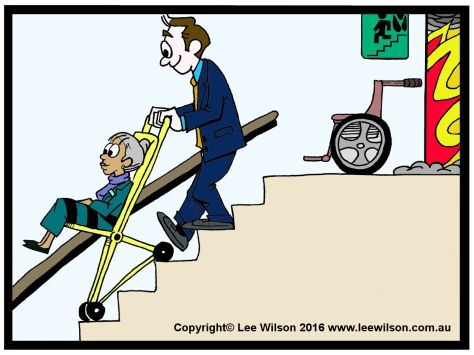 Evac Chair Canada Tufted Leather Club Cartoon Of A Man Using An Evacuation In Fire Stairs To Help Lady Down The