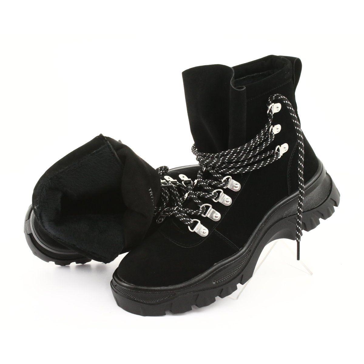 Traperki Wiazane Czarne Sergio Leone Tr729 Winter Shoes Nubuck Leather Timberland Boots