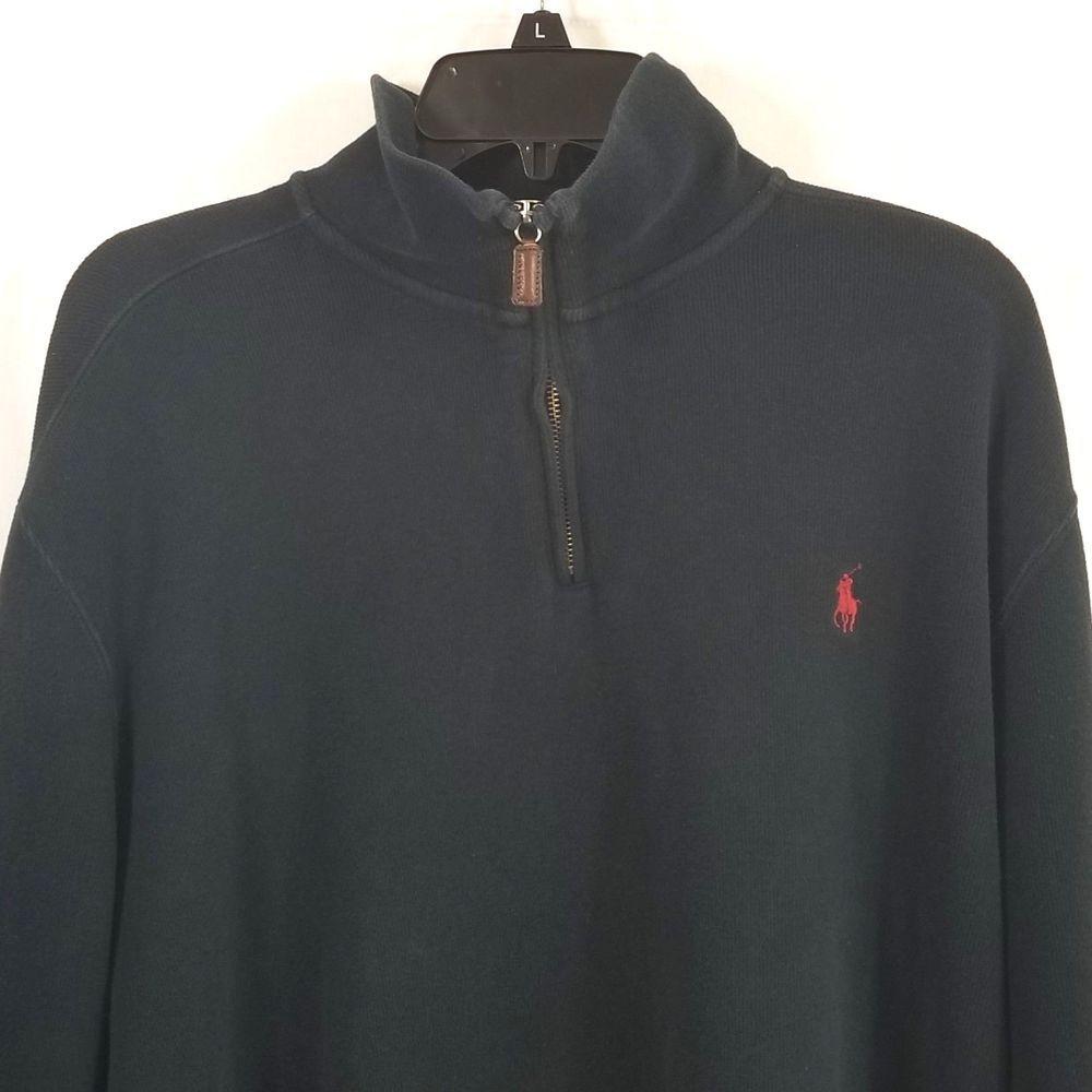 Polo Ralph Lauren Men Shirt XXL Pullover Sweater Black Long Sleeve Quarter  Zip  PoloRalphLauren  Pullover 7dab151108