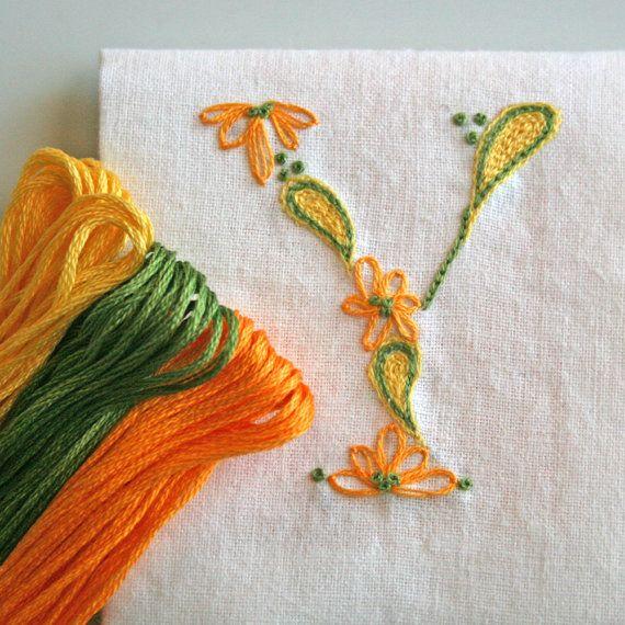 DIY pdf Crewel Embroidery Pattern Monogram Y is by PrairieGarden
