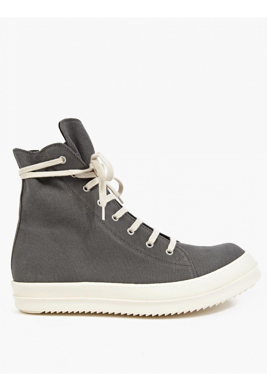 46b692c8ff28 Rick Owens Drkshdw Grey Coated-Canvas Hi-Top Sneakers