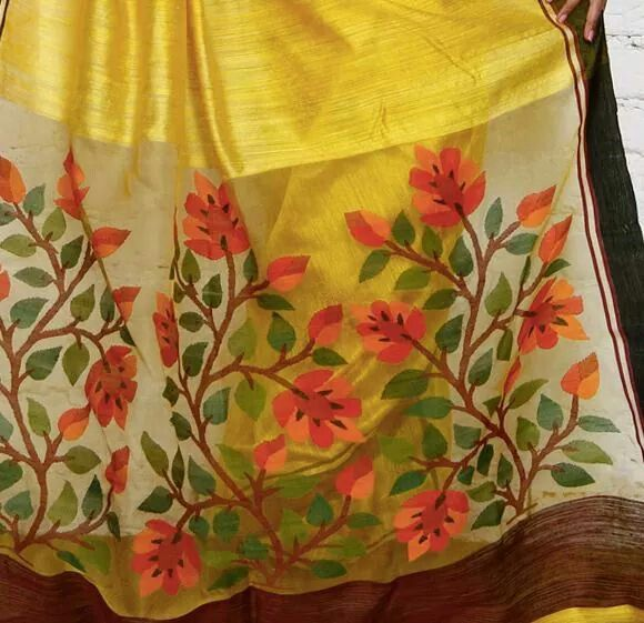 Lemon yellow matka silk jamdani pallu saree
