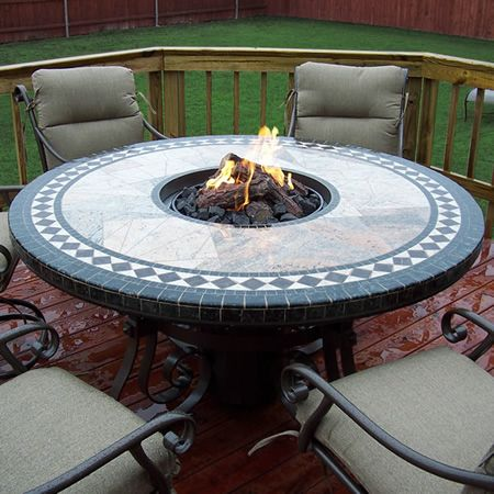 60 Mosaic Round Fire Pit Table Round Fire Pit Table Fire Pit Table Gas Fire Pit Table