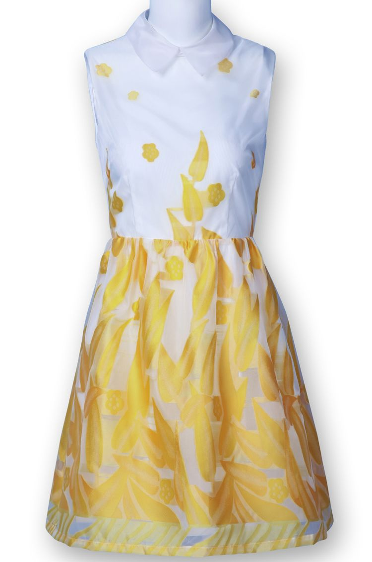 Yellow And White Lapel Leaves Print Flare Dress Clothes For Women Yellow And White Dress Style [ 1132 x 750 Pixel ]