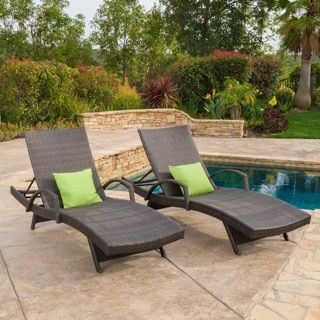 toscana outdoor wicker armed chaise lounge chair set of 2 by