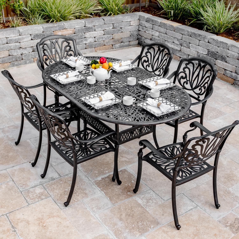 Admirable Darlee Roxbury 7 Piece Cast Aluminum Patio Dining Set W 72 Theyellowbook Wood Chair Design Ideas Theyellowbookinfo