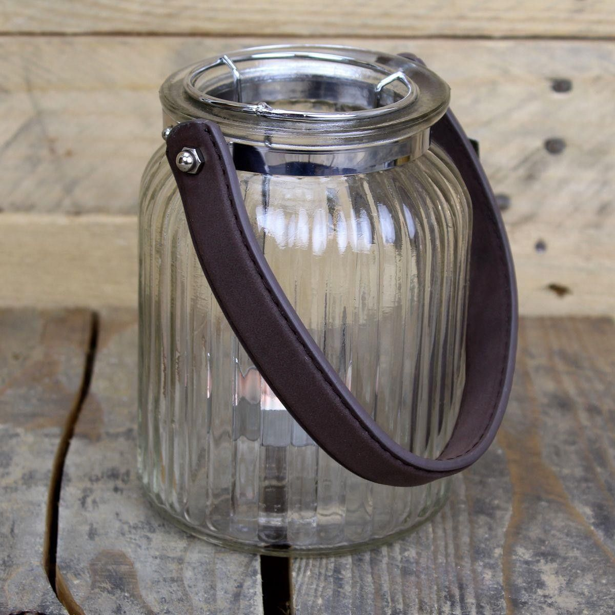 Candlepot Rope Handle ~ 10.5X8.5 Ribbed Candle Pot Tealight Holder