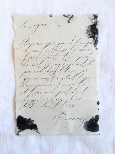 hand written love letter  poem  The North Sea Studio  black ink  calligraphy