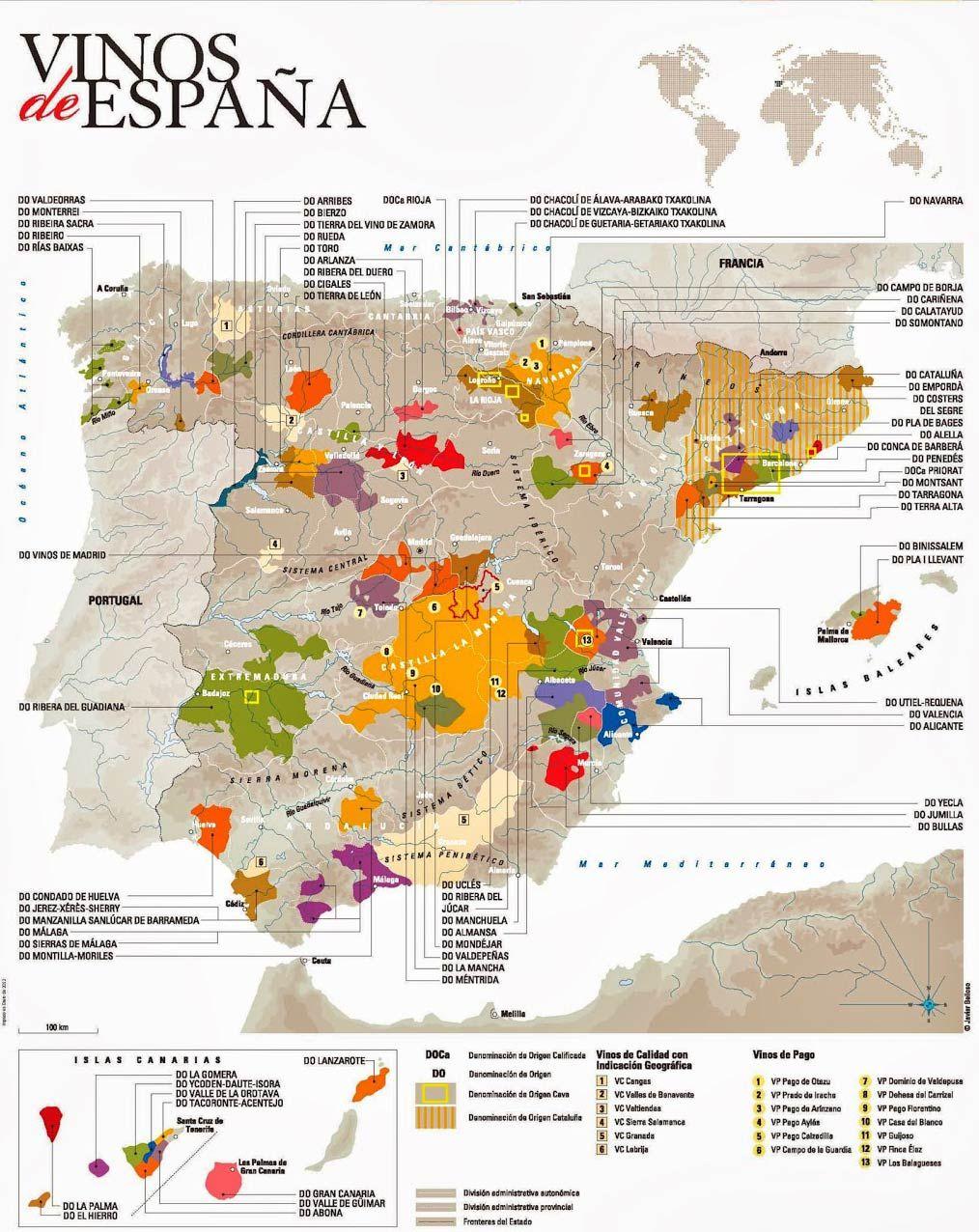 Denominaciones de origen del vino de espa a 2017 mapa y - Plano de valdepenas ...