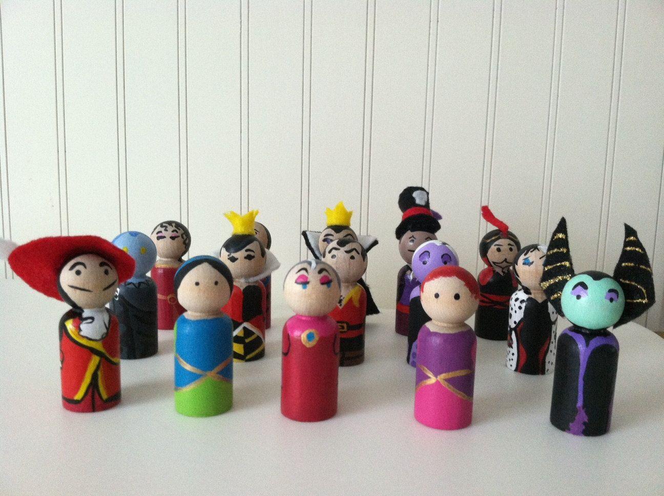 Disney Villains Peg Doll Set by Geektoysandcrafts on Etsy