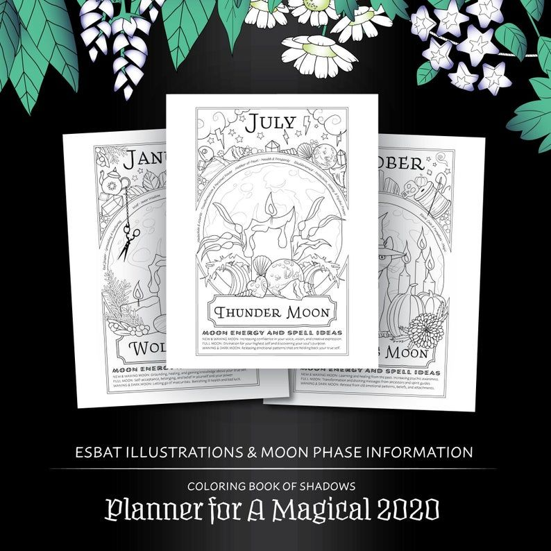 Planner For A Magical 2020 Coloring Book Of Shadows Printable Pdf Grimoire Moon Phase Calendar Witchcraft Seas Book Of Shadows Grimoire Coloring Books
