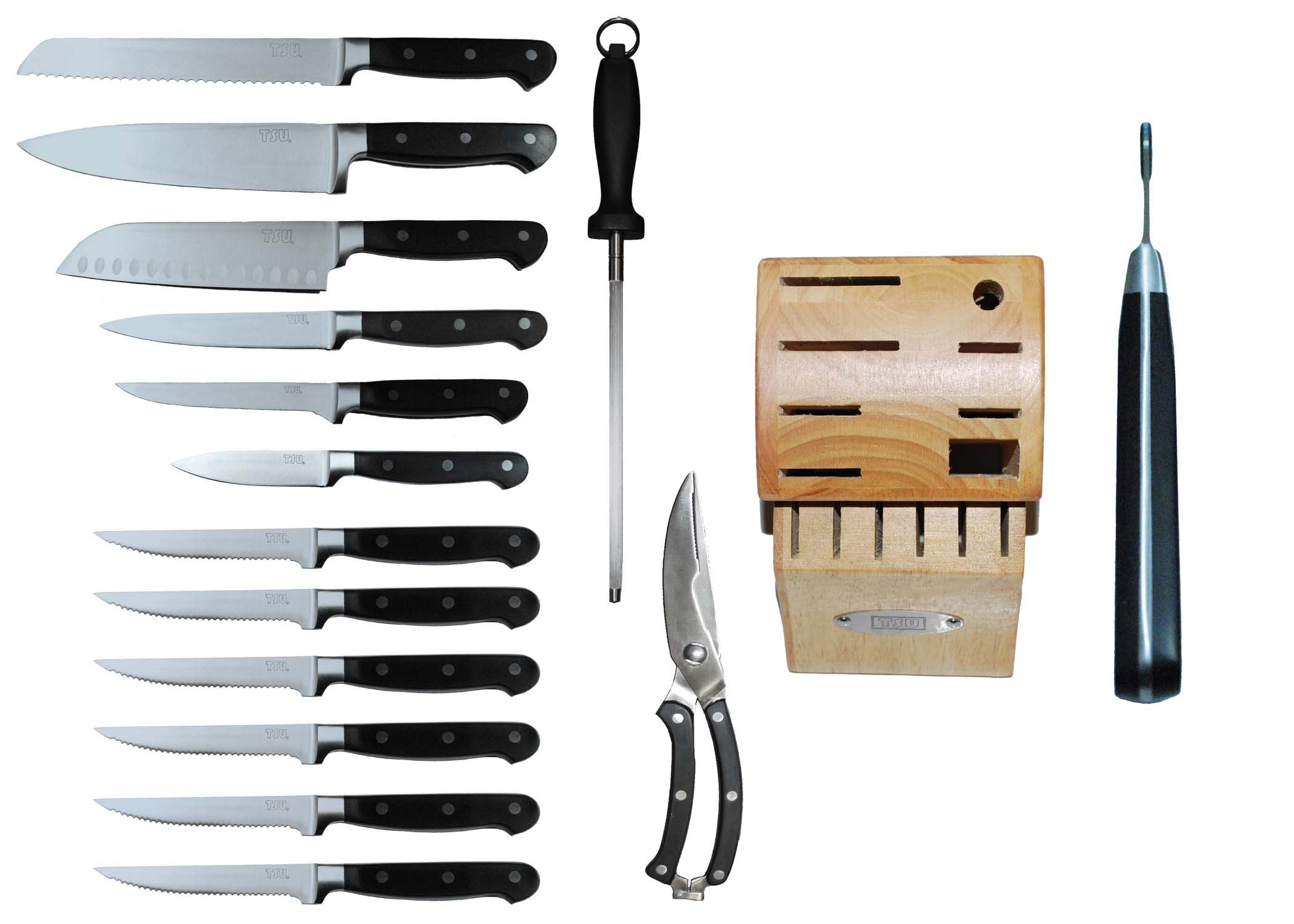 Tsu Piece Kitchen Knife Set With Block Heavenly Swords The Cooks Paring And Carving Fork