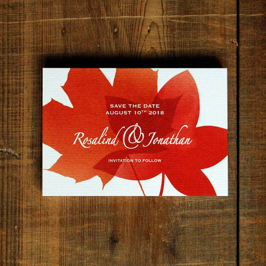 Autumn Leaves Wedding Invitations And Save The Date | Autumn, Red ...
