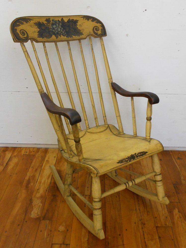 Antique Stenciled Spindle Back Rocking Chair Yellow Grapes Hitchcock Style  #Country #Unknown - Antique Stenciled Spindle Back Rocking Chair Yellow Grapes