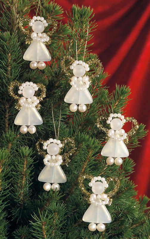 Beadery Kits Bead Kits Holiday Beaded Ornament Kit White Pearl Precious Angels D Christmas Angels Beaded Christmas Decorations Christmas Ornaments