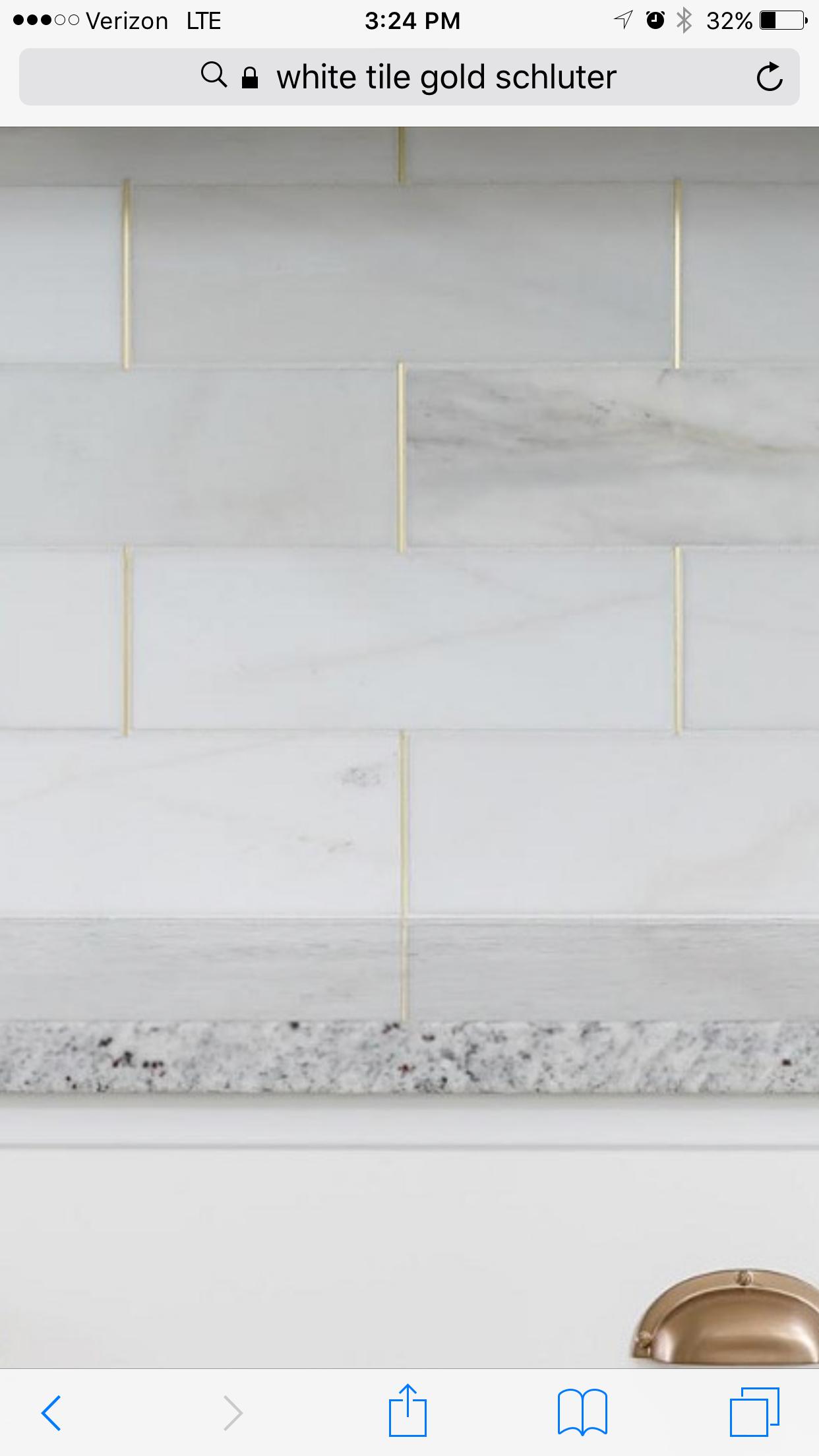 Kitchen backsplash, marble w/gold schluter strips! | Lyon Casa ...