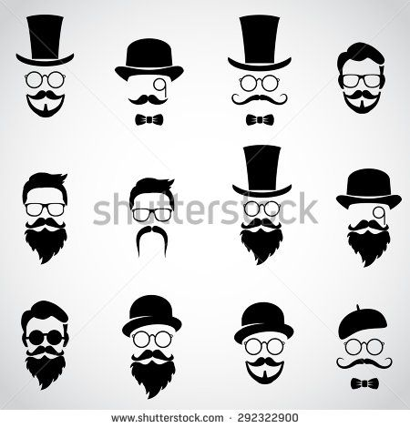 Retro Vintage Gentleman Set Collection Of Diverse Male Faces Vector Art Gentleman Tattoo Vintage Gentleman Mustache Drawing