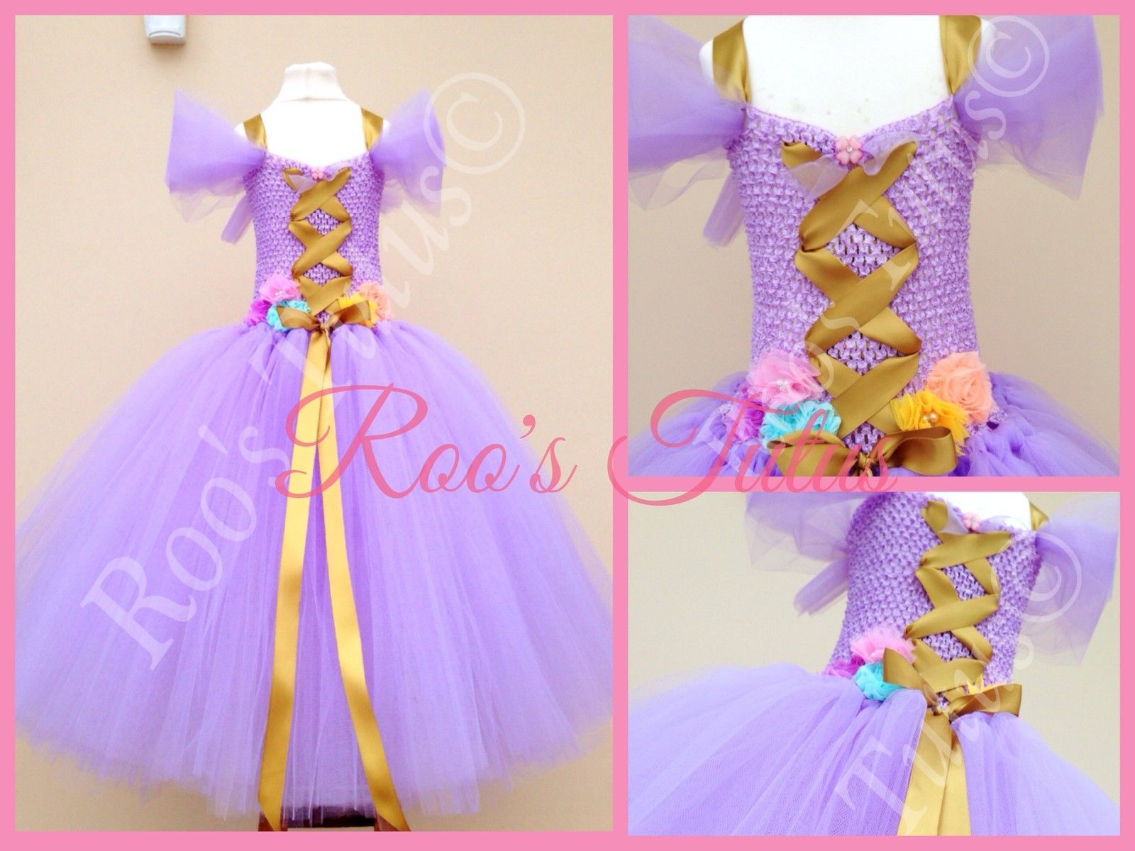 Disney inspired Rapunzel//Tangled tulle tutu dress,Fairy tale fancy dress.