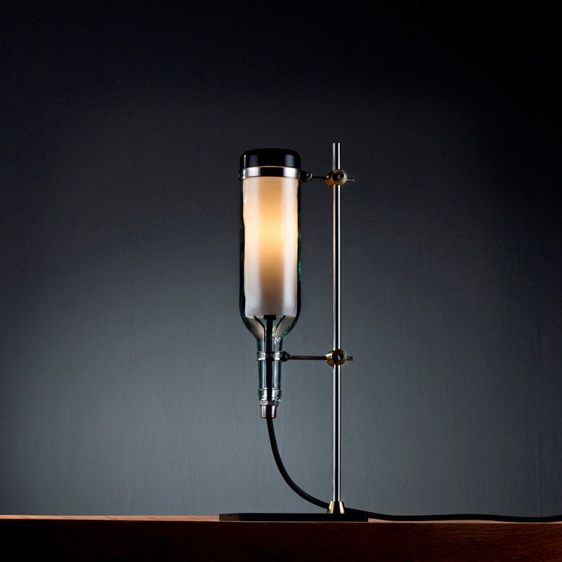 Lab upcycled wine bottle table lamp by john meng on etsy for Champagne bottle lamp