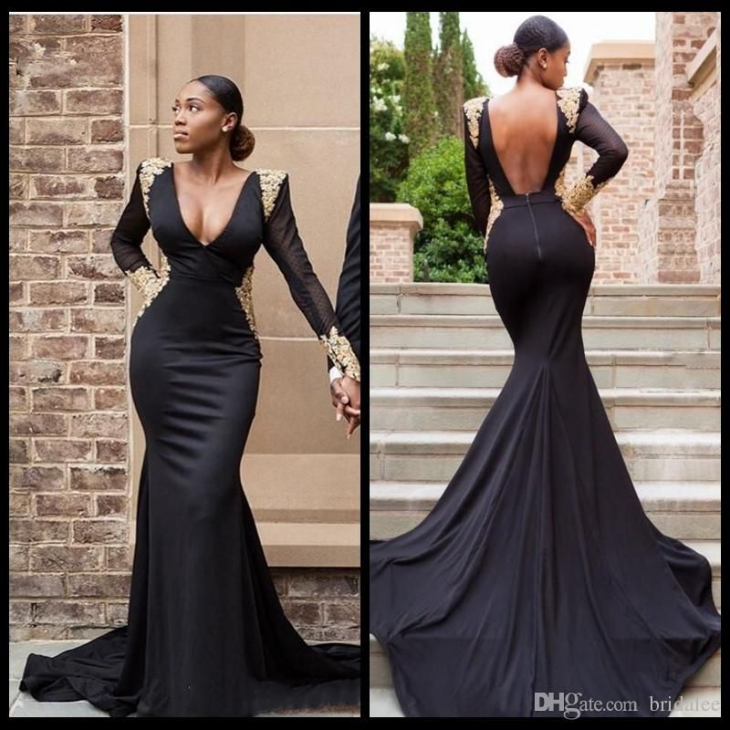 3067a916729 Sexy Deep V Neck Formal Evening Dresses Sheer Long Sleeve Black Girls Prom  Dress Mermaid Gold Lace Applique Beaded Backless Party Dresses Plus Size  Dresses ...