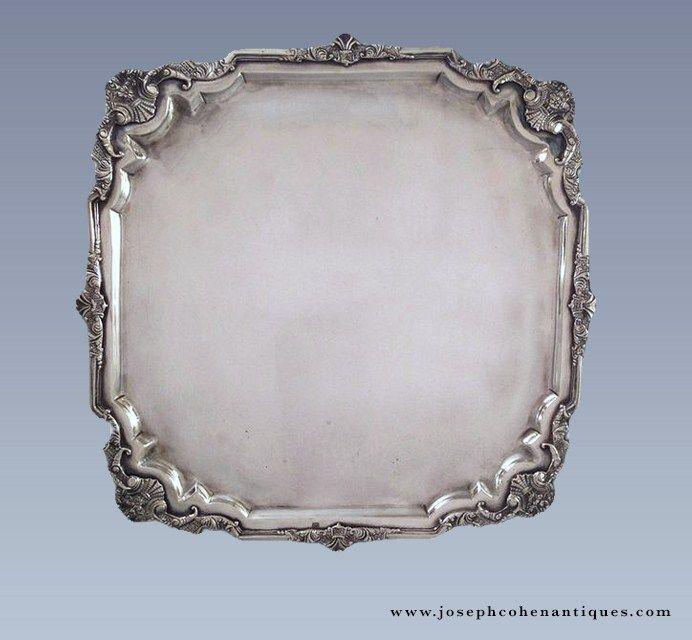 ANTIQUE DUTCH COLONIAL SILVER SALVER SCHENKPIERING, BATAVIA – CIRCA 1786