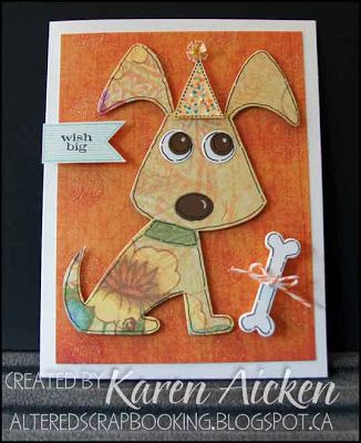 Floral Dog Cards - this one is made into a birthday card. I adore this Sizzix die.  :-)