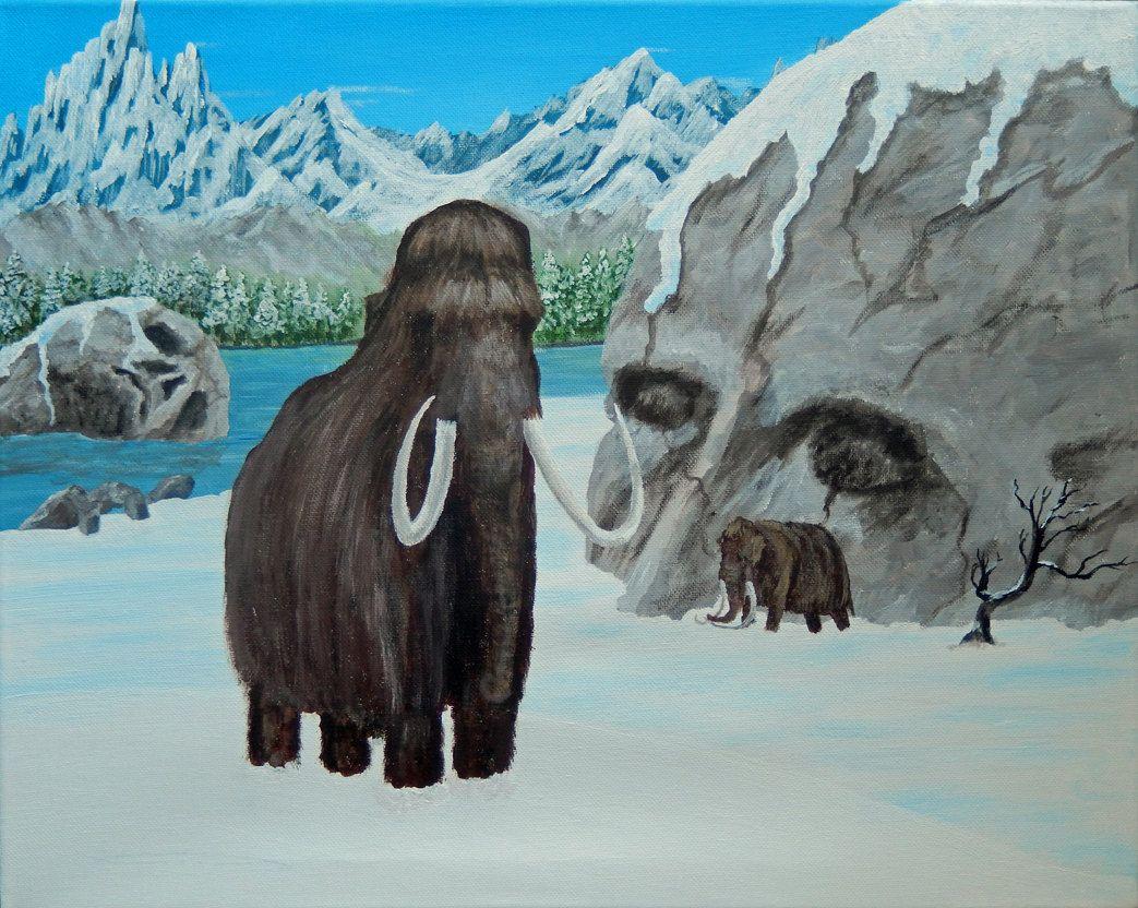 SALE! MAMMOTH Fantasy ORIGINAL Acrylic Painting 16x20 Wooly