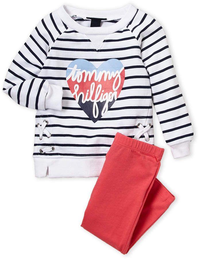 8719080cd Tommy Hilfiger (Toddler Girls) Two-Piece Stripe Pullover & Leggings Set