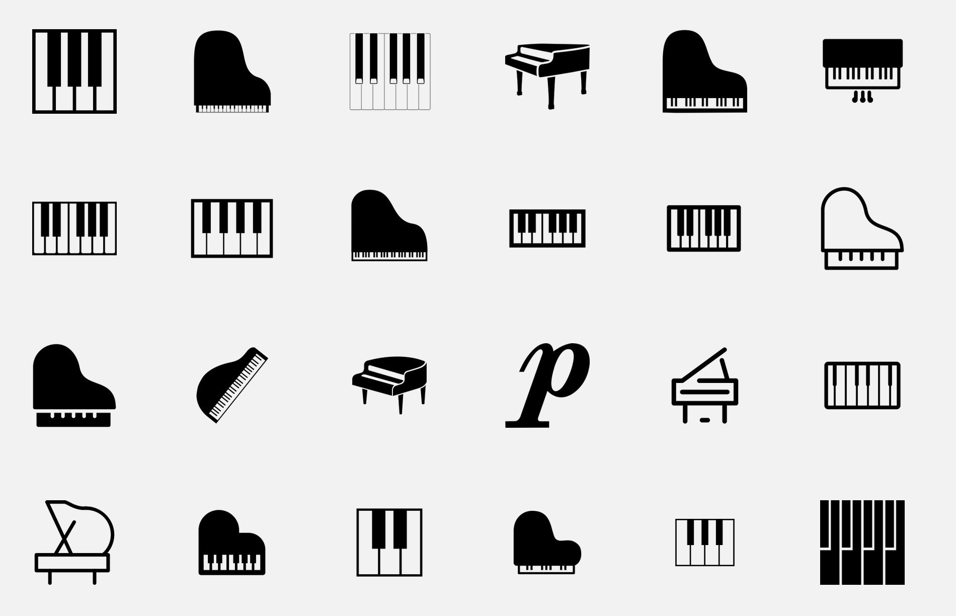 Free icons on The Noun Project Minimalist tattoo, Piano